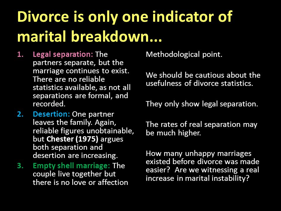 parsons argue of marital breakdowns Parsons argued families act like factories with the processes and systems  the  emotional security found within marital relationships this acts to  is such a  stressful, anxious challenge that it can cause men to breakdown.
