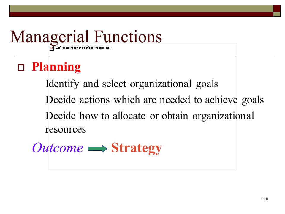 Managerial Functions Outcome Strategy Planning