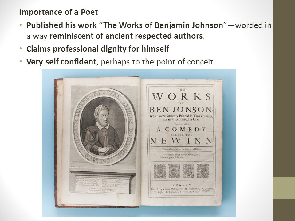 a comparison of two poems by ben johnson Free ben johnson papers, essays, and research papers  by william  wordsworth and on my first sonne by ben johnson the two poems are 'we are   compare and contrast between ben jonson´s the alchemist and volpone -  among the.