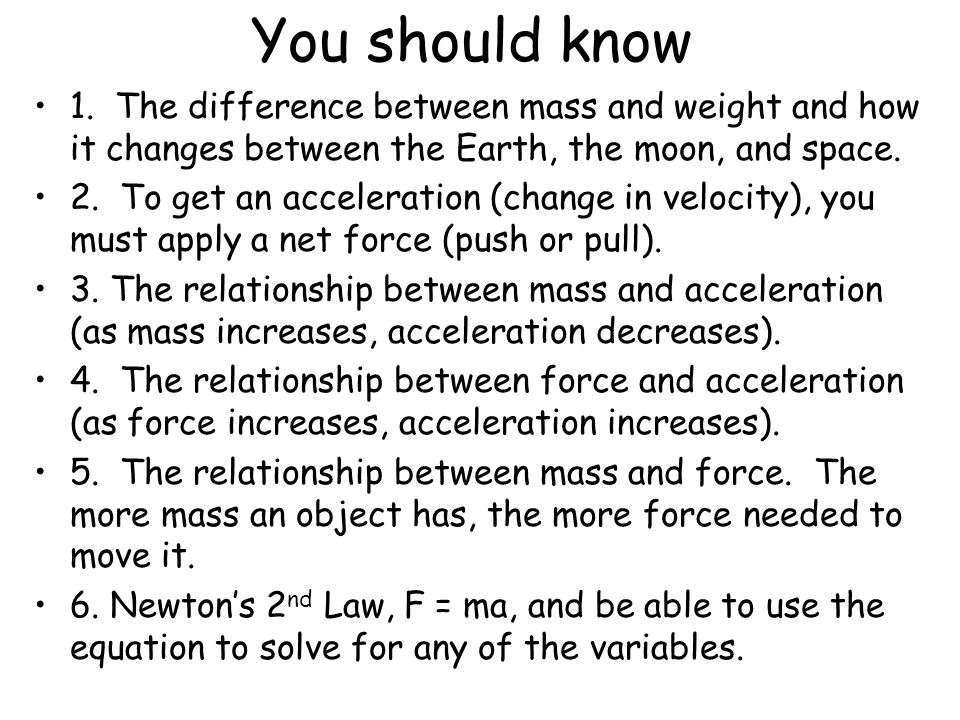 the relationship between mass and weight on earth