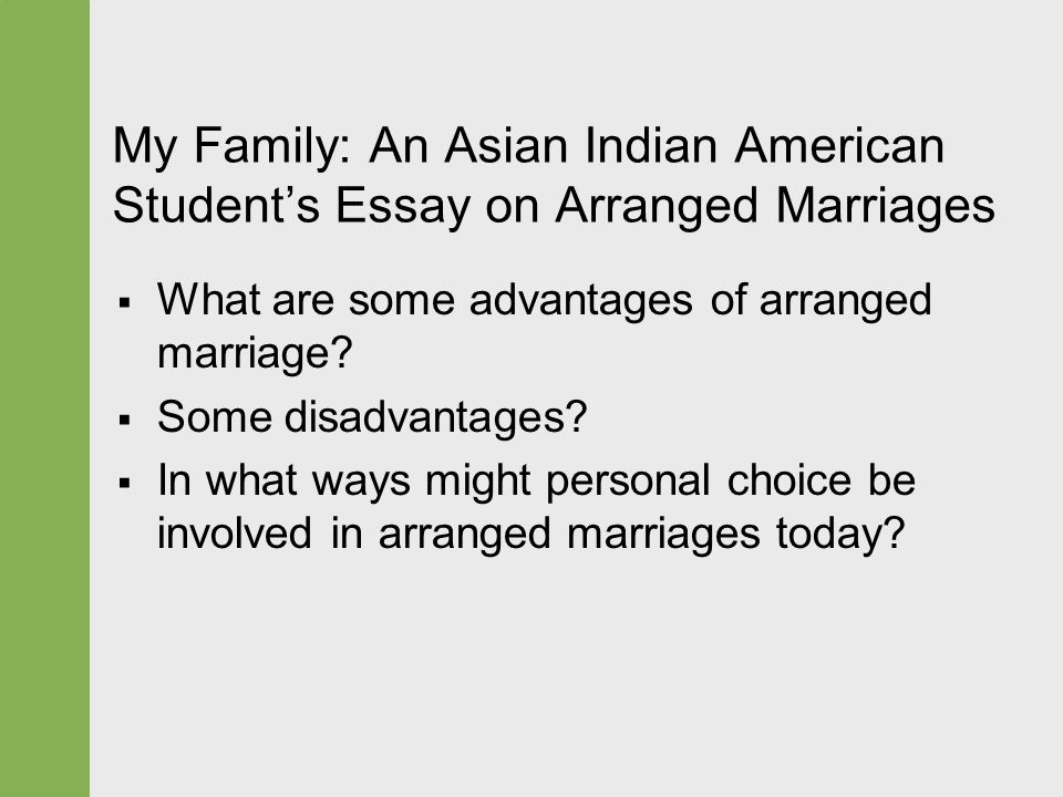 Advantages of arranged marriages essay