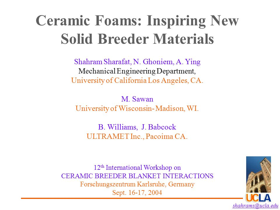 Ceramic Foams Inspiring New Solid Breeder Materials Ppt