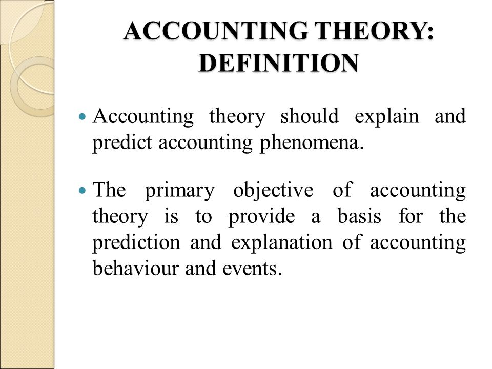 ACCOUNTING THEORY AND STANDARDS - ppt video online download
