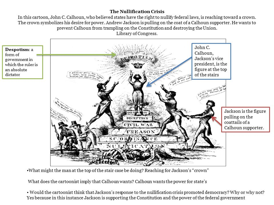 john c calhoun and the nullification crisis in the united states What was the dilemma faced by john c calhoun, and what factors gave rise to it  history of the united states 1789–1849)  causes the nullification crisis .