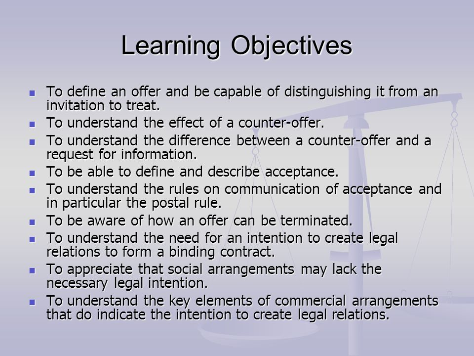 Lg538 law general principles of contract law ppt video online learning objectives to define an offer and be capable of distinguishing it from an invitation to stopboris Choice Image