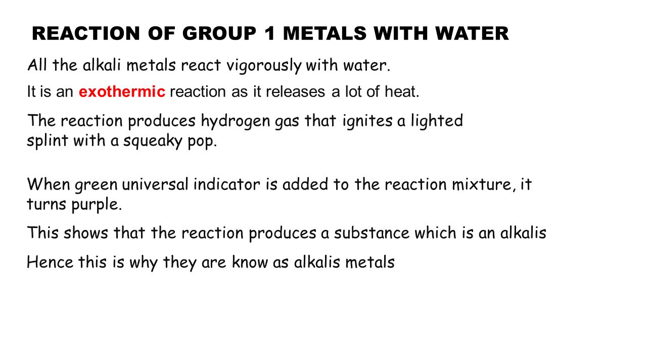 Where are the alkali metals ppt video online download reaction of group 1 metals with water gamestrikefo Images