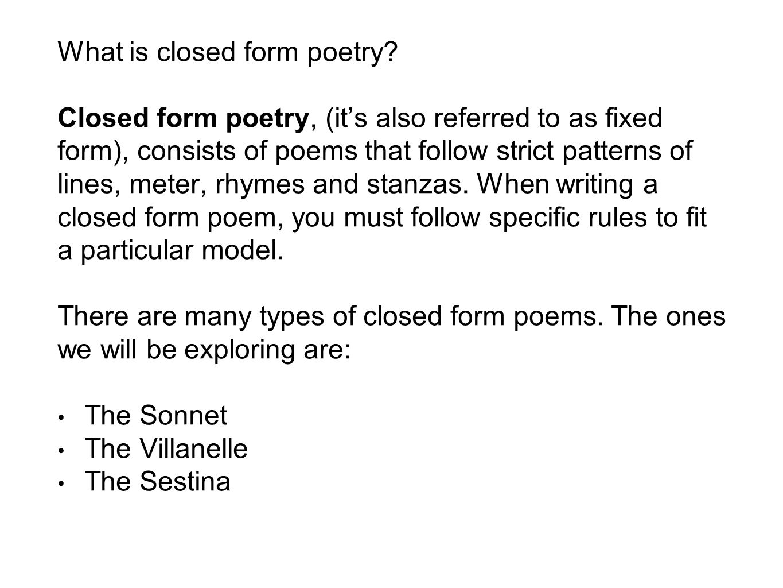 Sonnet, Villanelle, Sestina - ppt video online download