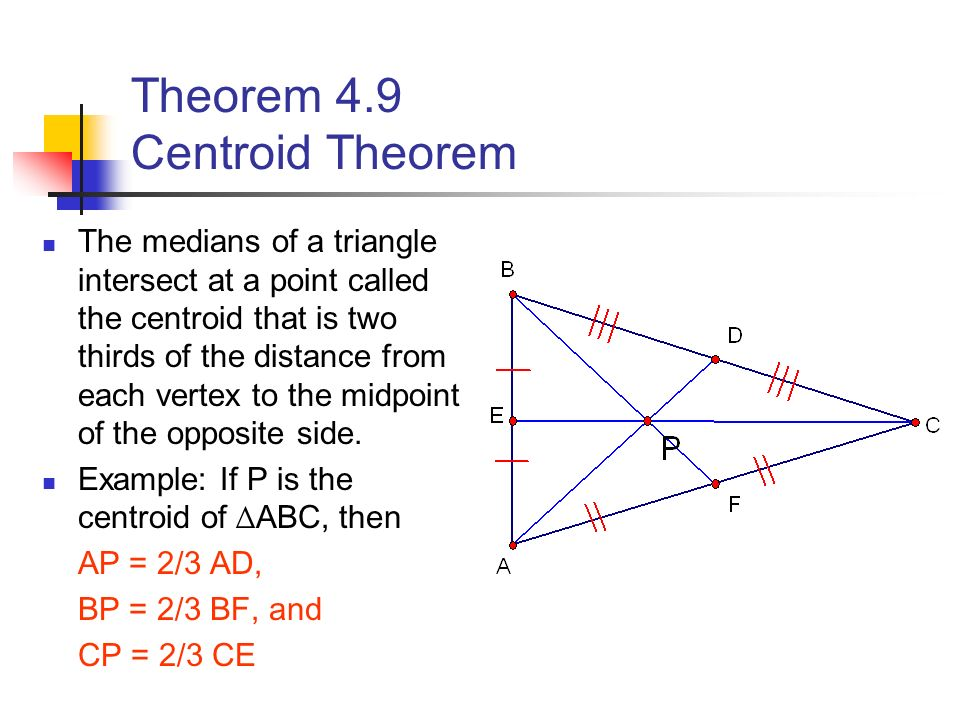 Medians of a Triangle Section ppt video online download Centroid Theorem