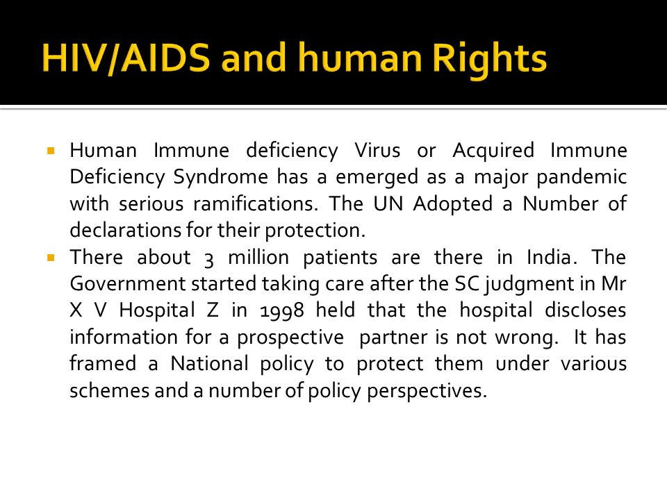 HIV/AIDS and human Rights