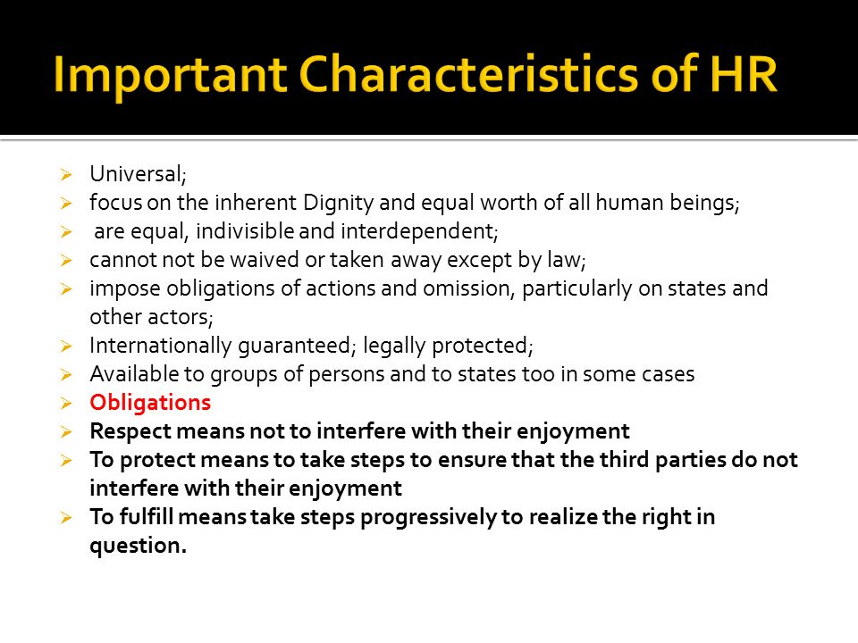 Important Characteristics of HR