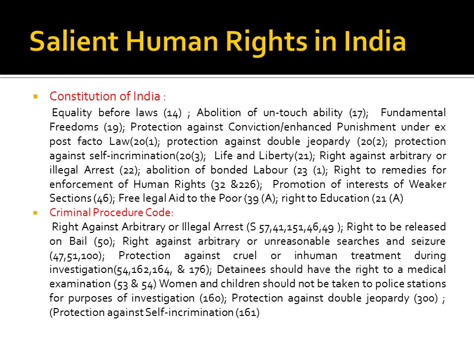 Salient Human Rights in India