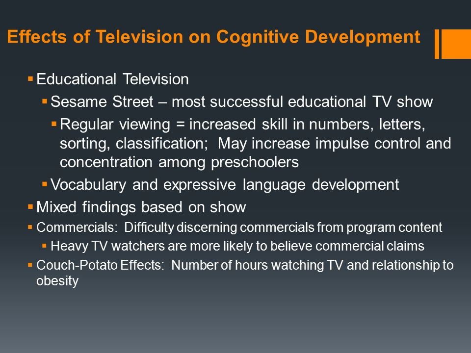 effects of educational television The impact on children's education: television's influence on cognitive development working paper no 2.