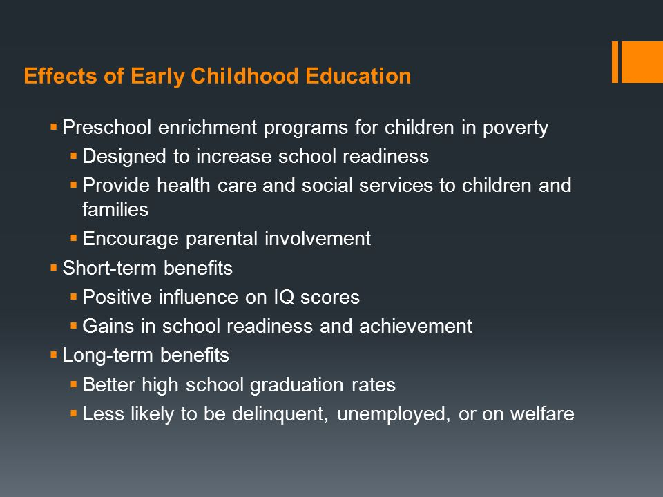 effect of preschool education essay Childhood education is an extremely beneficial aspect to the society because education is the engine of prosperity and success the child should pass through the best education grade in his/her early ages so as to develop the brain and emotionally.