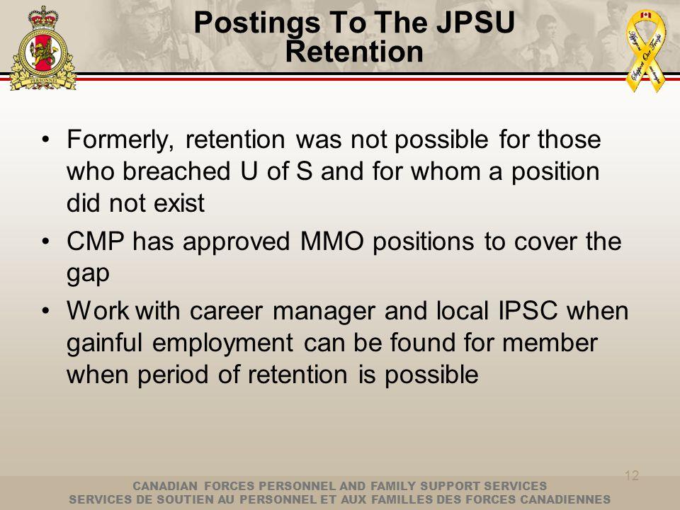 Postings To The JPSU Retention