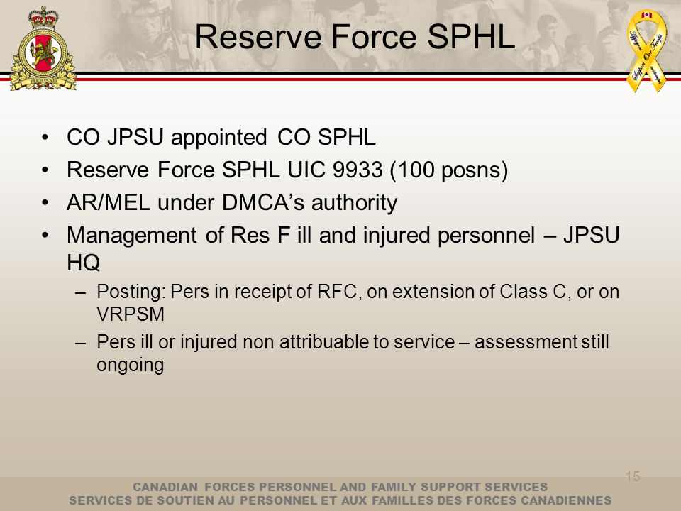 Reserve Force SPHL CO JPSU appointed CO SPHL