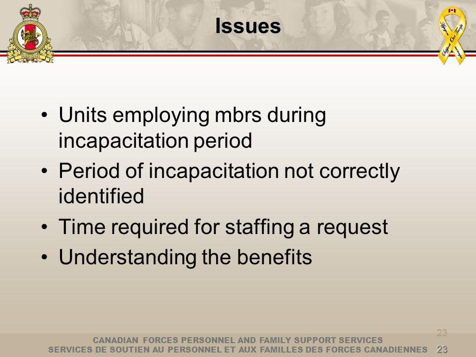Units employing mbrs during incapacitation period