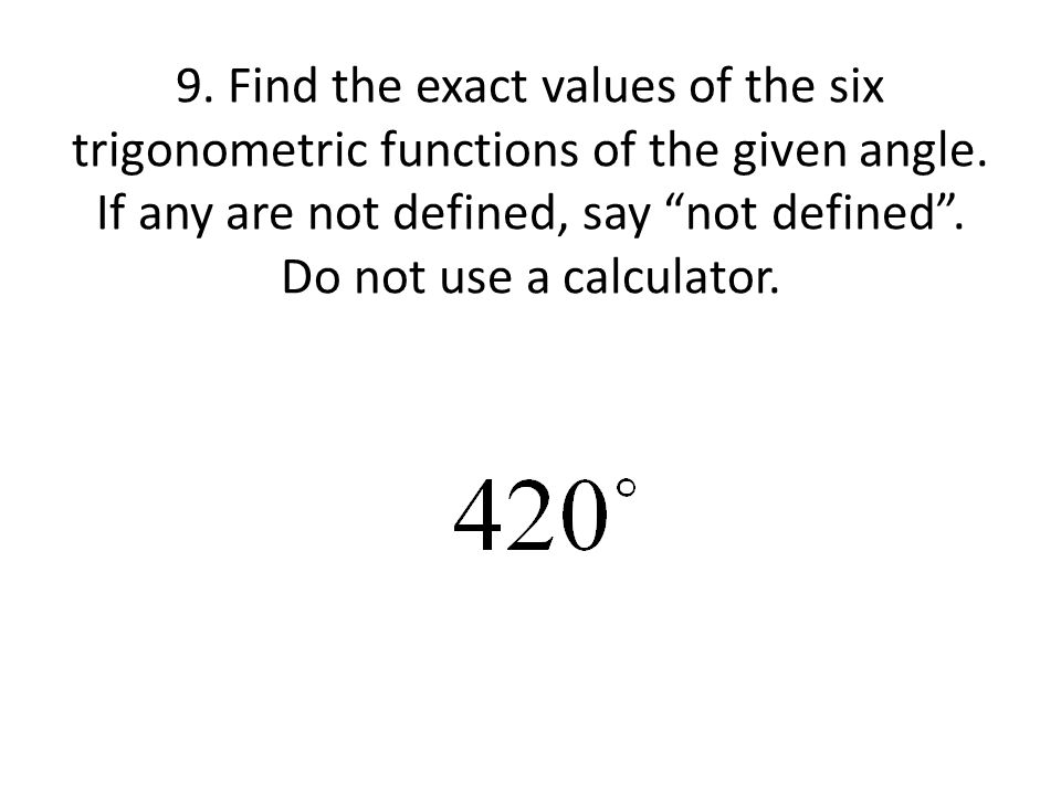 how to find trigonometric values of an angle