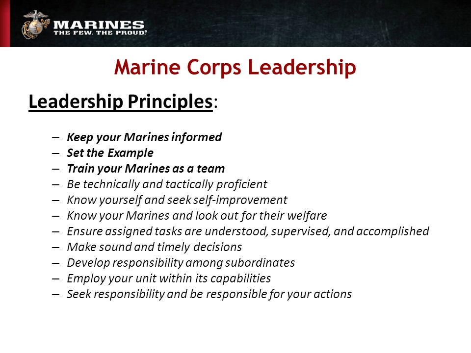 marine corps leadership traits essay example Leadership for the long war: the us marine corps and army of today must of leadership and that leadership by example is the highest form of leadership4.