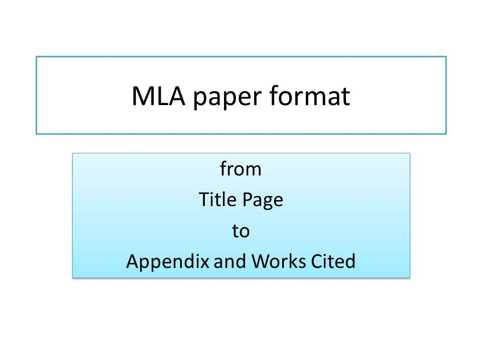 from Title Page to Appendix and Works Cited