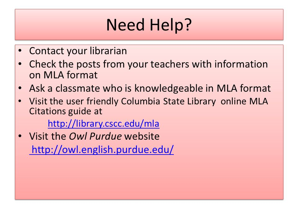 Need Help Contact your librarian