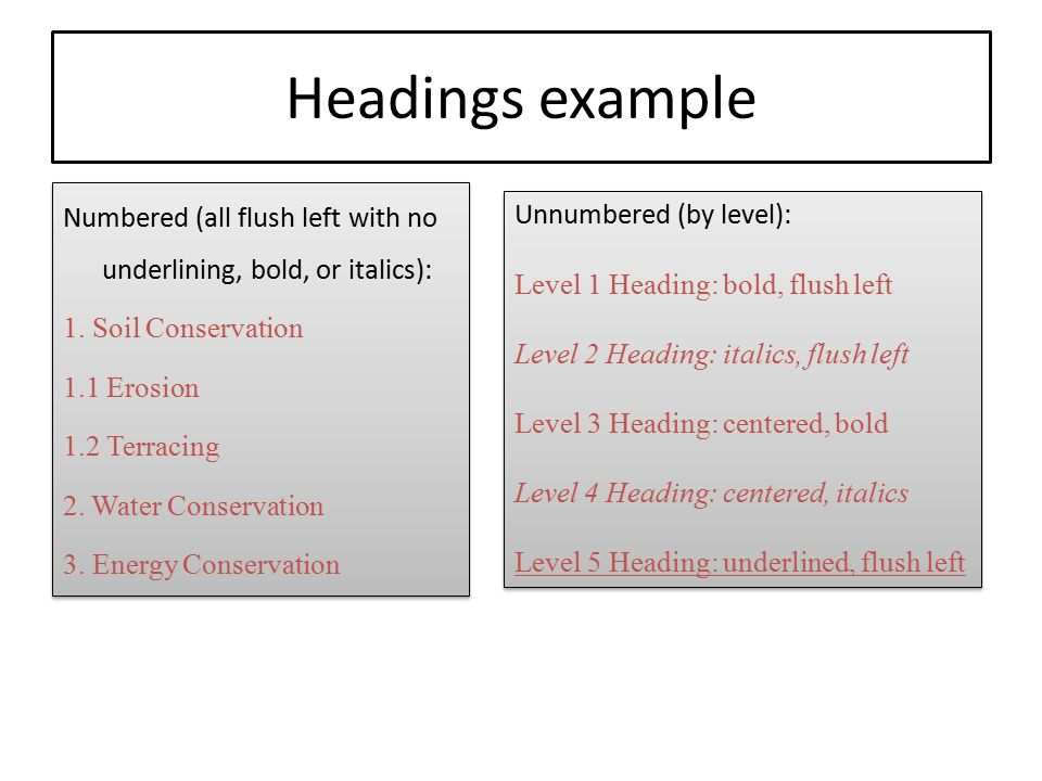 Headings example