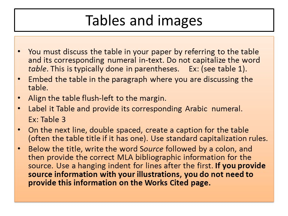 Tables and images