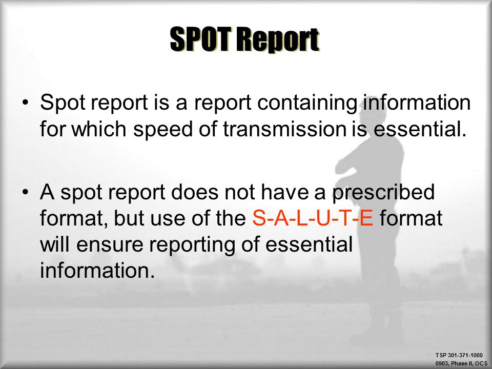 example spot report Select study methodology select location  finalize the report 2 file the  for example, if the spot speed study length is 100 feet and the motorist's.
