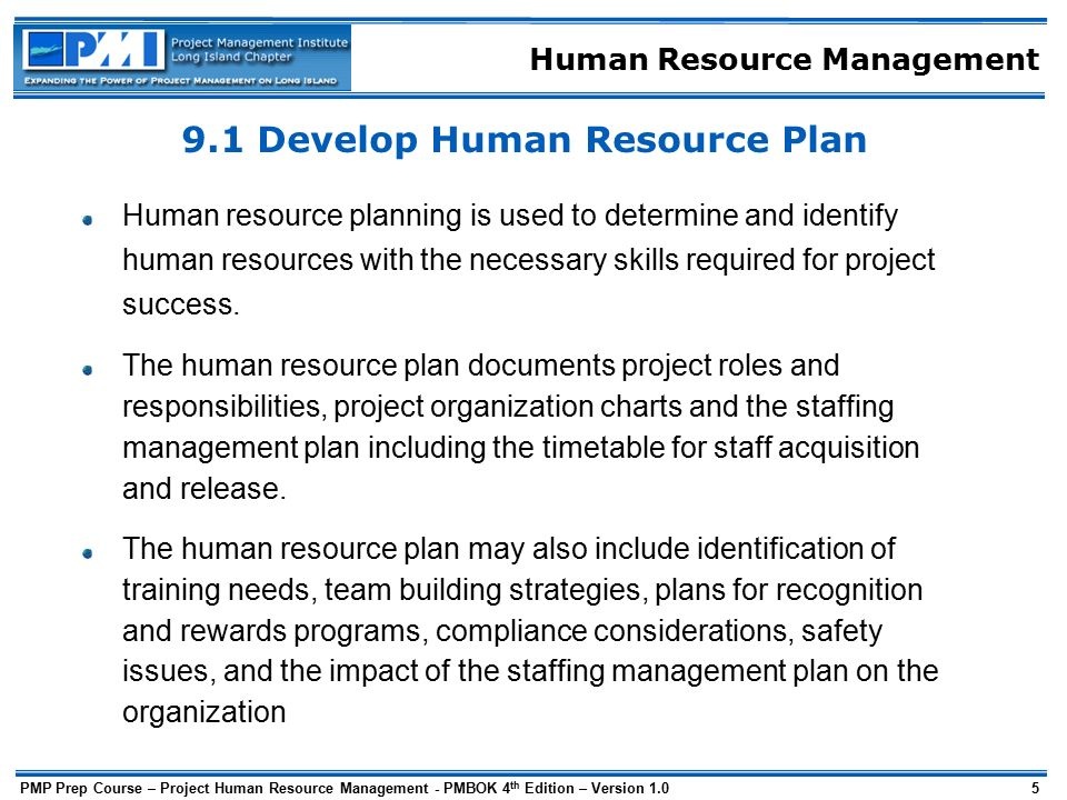 human resource plan template pmbok - human resource management ppt download