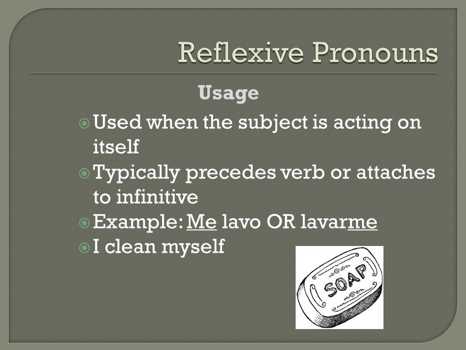 Reflexive Pronouns Usage Used when the subject is acting on itself