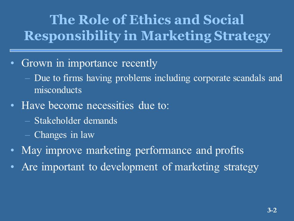 role ethics and social responsibility While ethics and social responsibility are sometimes used interchangeably, there is a difference between the two terms ethics tends to focus on the individual or marketing group decision, while social responsibility takes into consideration the total effect of marketing practices on society.