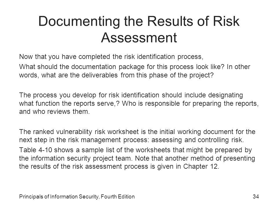 Principles of Information Security Fourth Edition ppt download – Sample Security Risk Assessment
