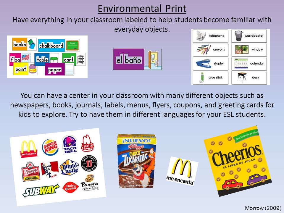 Emergent literacy in the kindergarten classroom ppt video online 9 environmental m4hsunfo