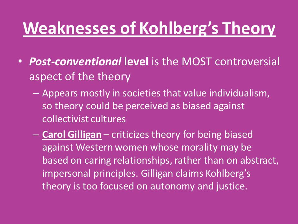 Weaknesses of Kohlberg's Theory