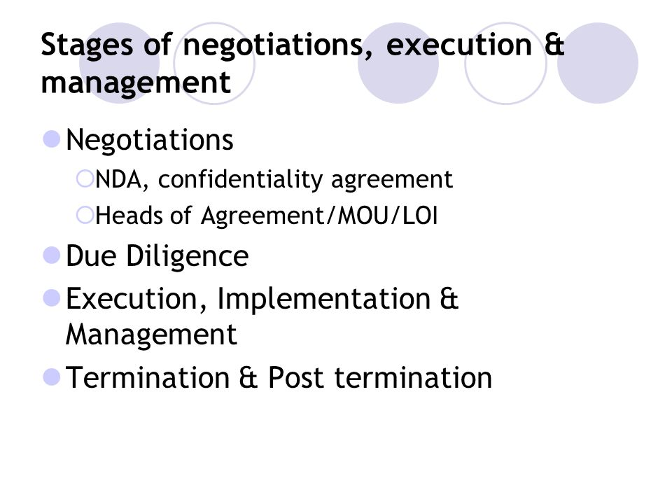 Stages of negotiations, execution & management
