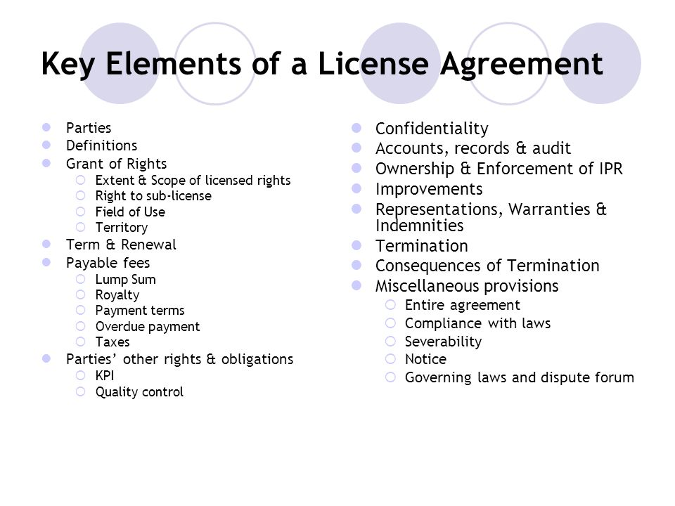Key Elements of a License Agreement