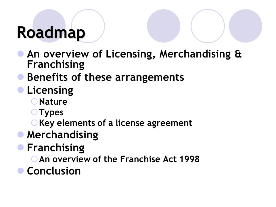 Roadmap An overview of Licensing, Merchandising & Franchising