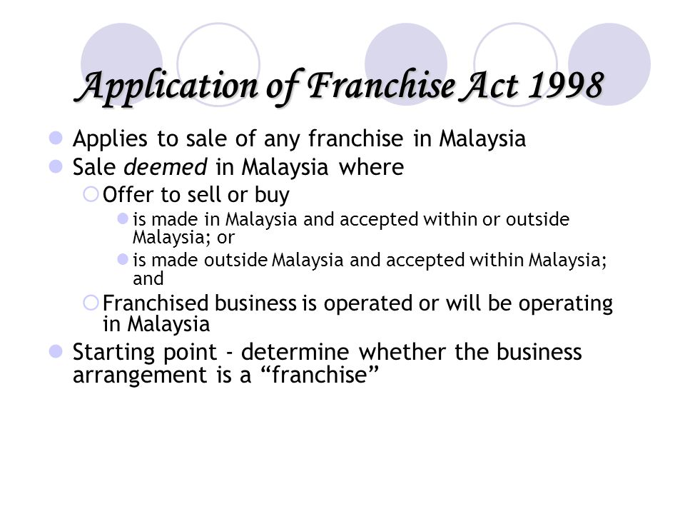 Application of Franchise Act 1998
