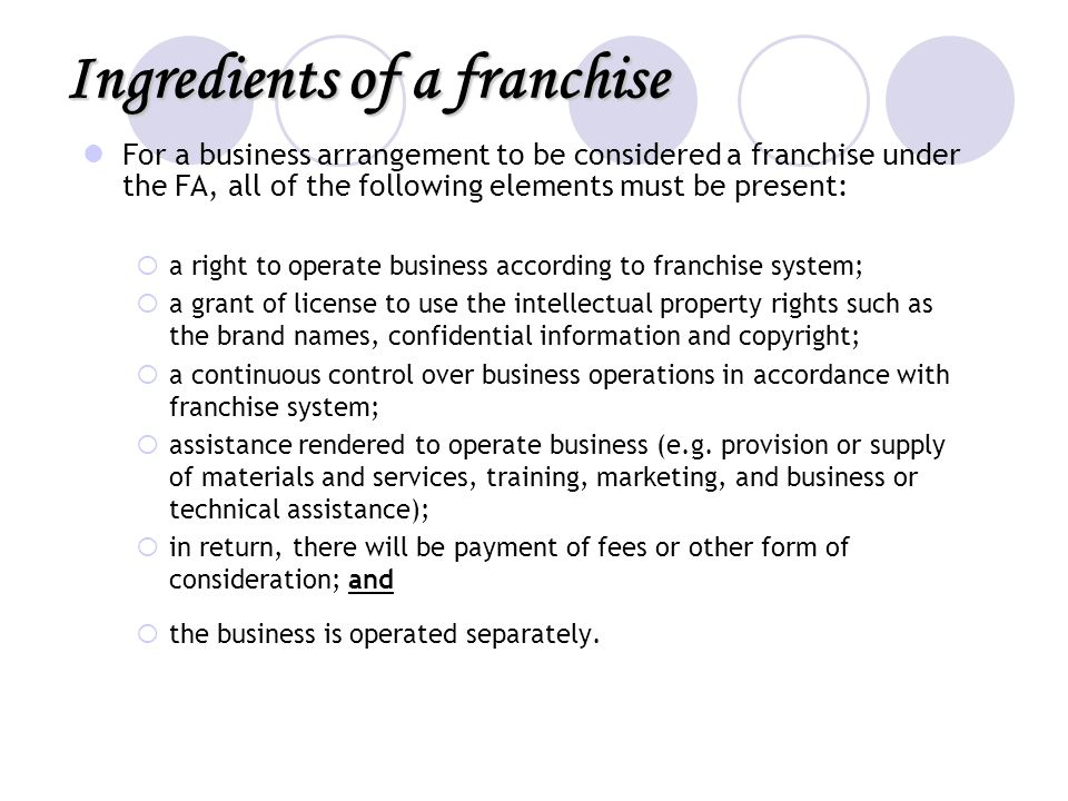 Ingredients of a franchise
