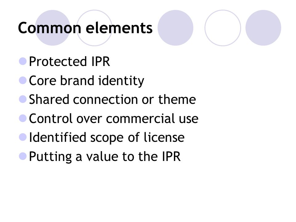 Common elements Protected IPR Core brand identity