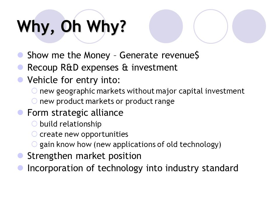 Why, Oh Why Show me the Money – Generate revenue$