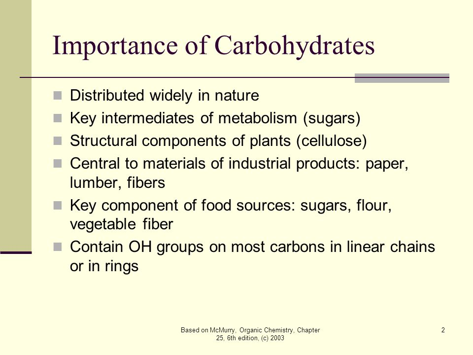 the importance of carbohydrates Carbohydrates while carbohydrates are seen as the element that causes weight gain, carbohydrates are actually very important to your body carbohydrates functions are that of storing food and other framework for the body listed below are the food storage the.