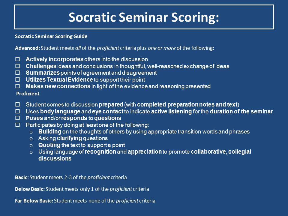 Socratic Seminar Scoring: