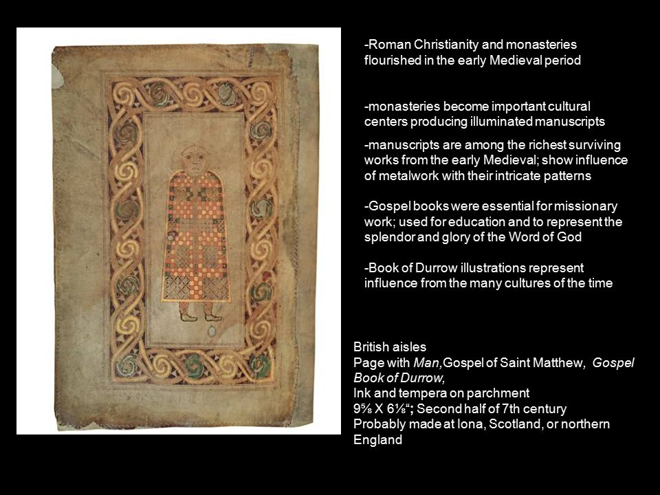 st matthew page from the gospel book of durrow essay Peace art 4 edit classic editor history talk (0) share brief book of durrow, one of the earliest pieces of hiberno-saxon art, 7th century ad st matthew, from the gospel book of charlemagne, or coronation gospels, 800-810 ad.