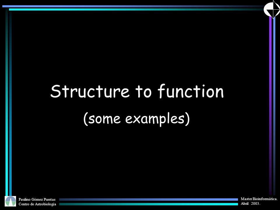 Structure to function (some examples)