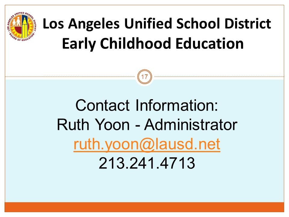 Los Los Angeles Unified School District Early Childhood Education