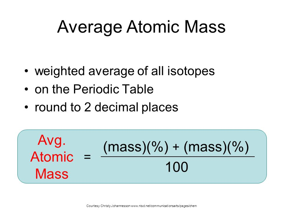 Atomic structure unit 3 atoms and molecules the idea that matter average atomic mass avg mass mass urtaz Image collections