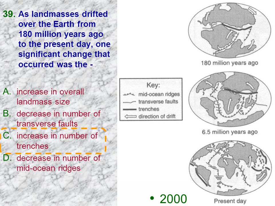 As landmasses drifted over the Earth from 180 million years ago to the present day, one significant change that occurred was the -