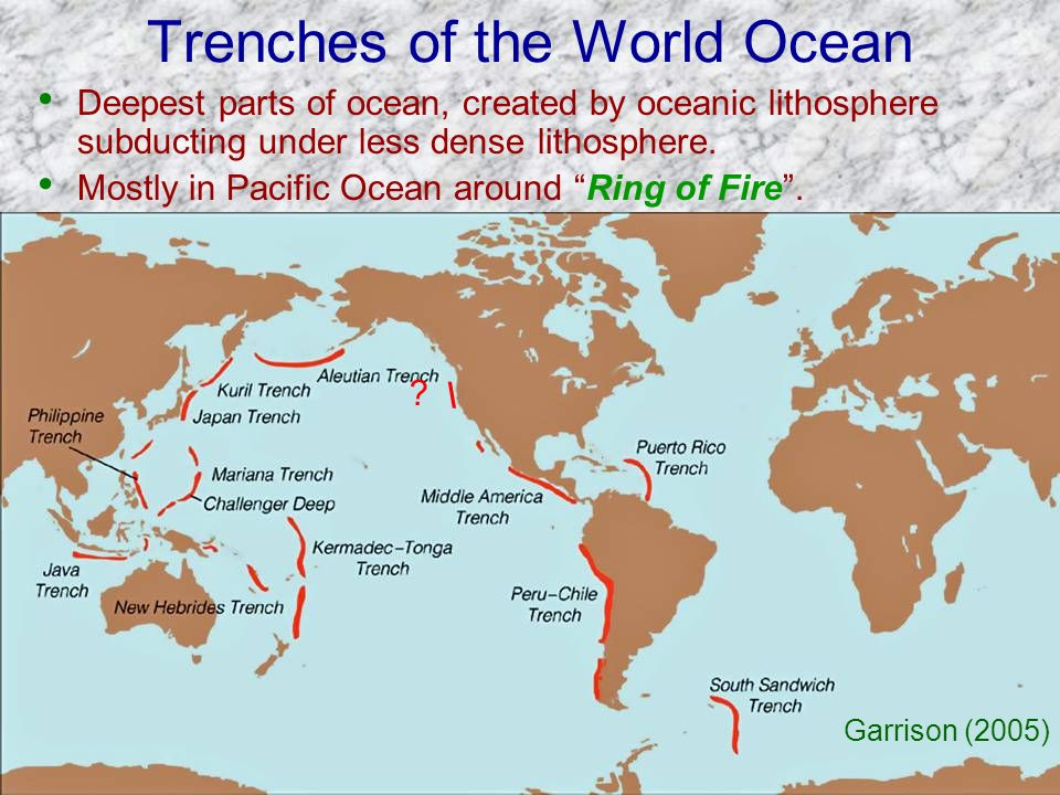 Trenches of the World Ocean