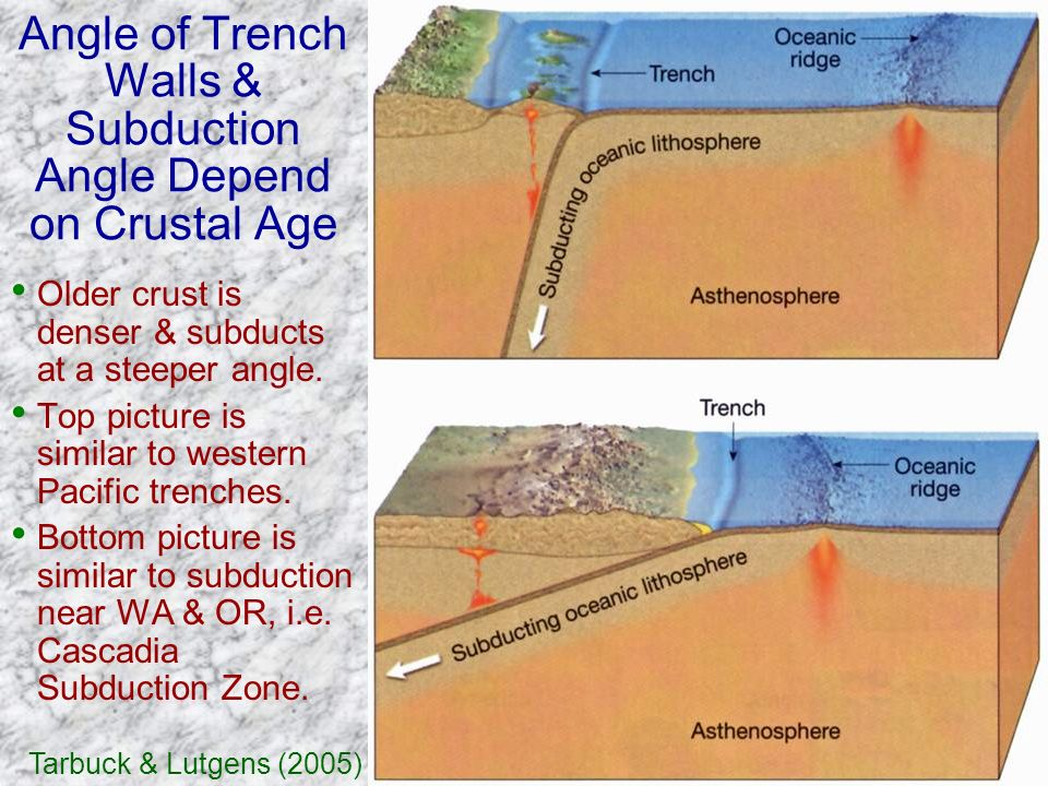 Angle of Trench Walls & Subduction Angle Depend on Crustal Age