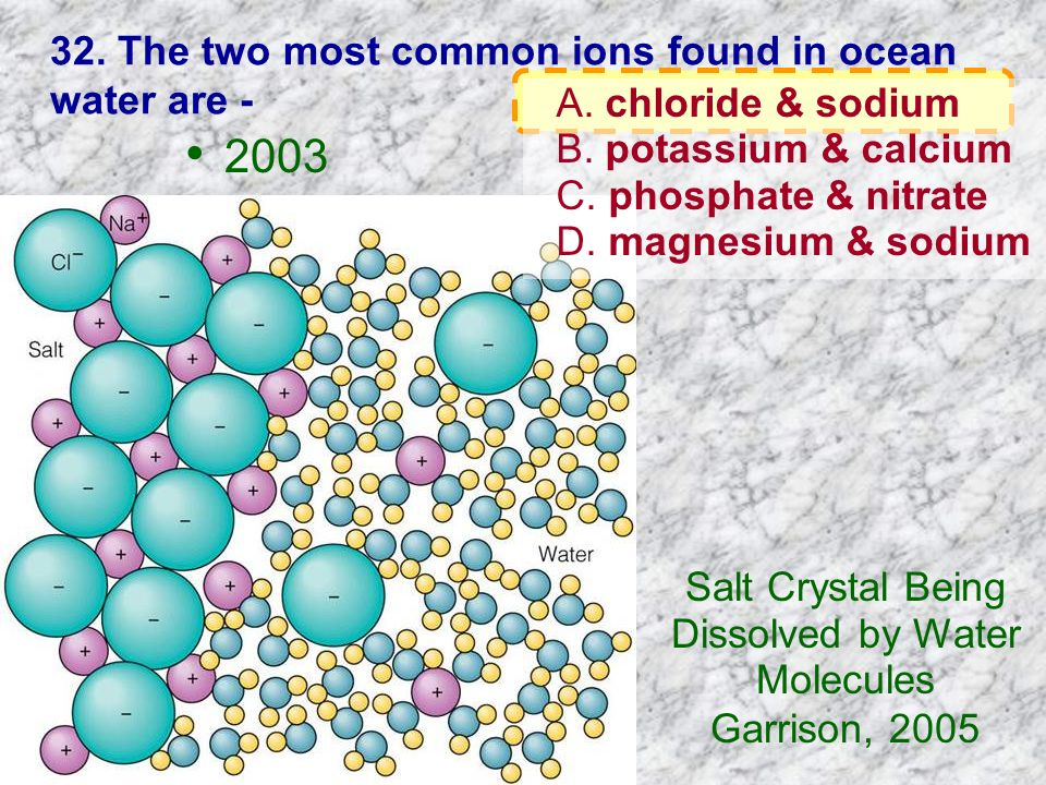 32. The two most common ions found in ocean water are -